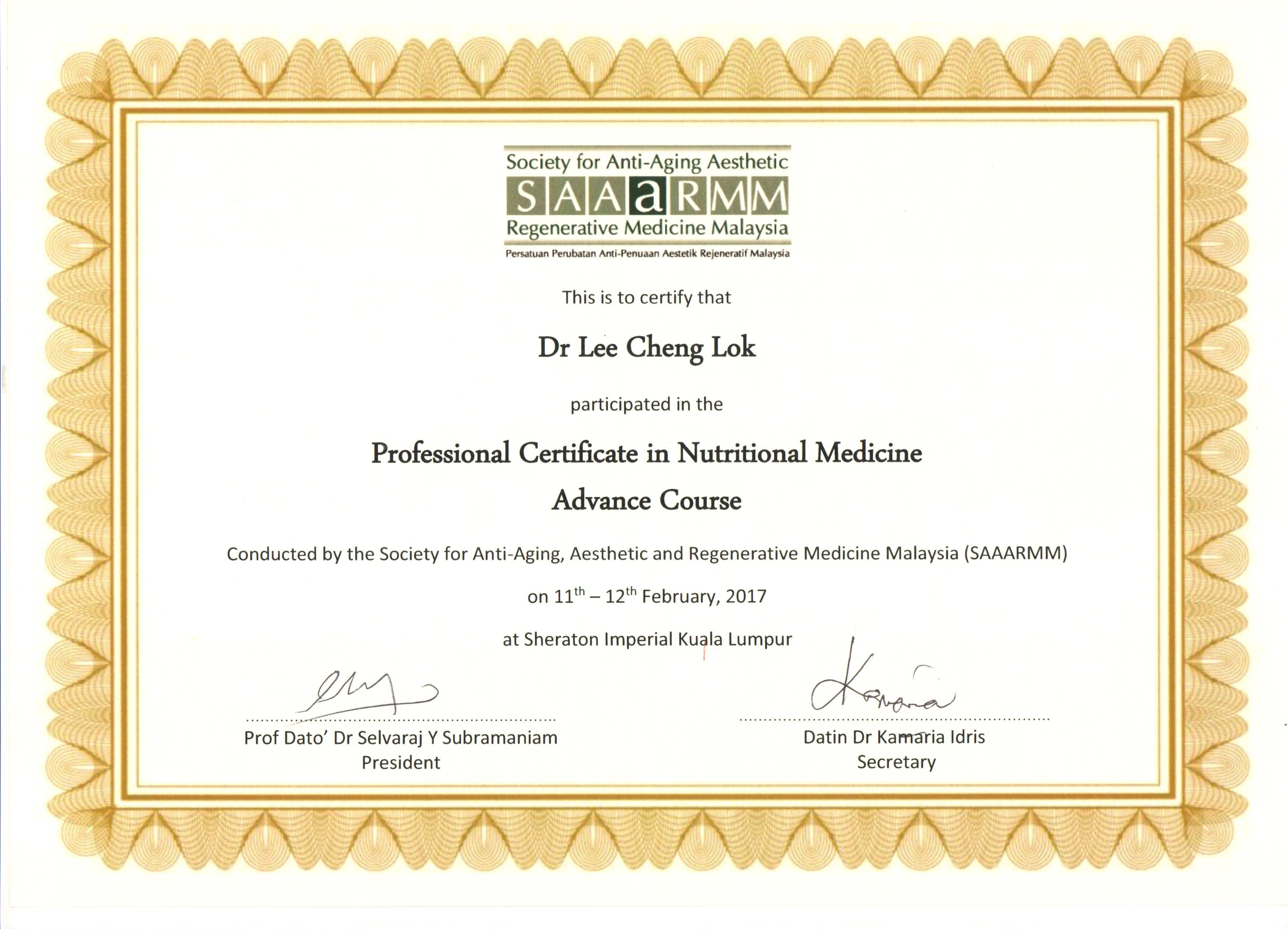 Nutritional Medicine Advance Course Heal Within Group Sdn Bhd